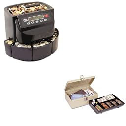 KITMMF200200CMMF221612003 - Value Kit - MMF Heavy-Duty Steel Cash Box w/7 Compartments (MMF221612003) and MMF Coin Counter/Sorter (MMF200200C)