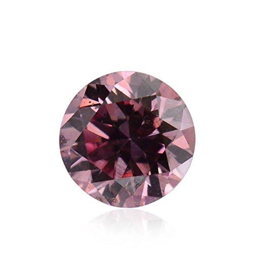 Si2 Natural (0.07 Carat Fancy Intense Purplish Pink Loose Diamond Natural Color Round Cut GIA)