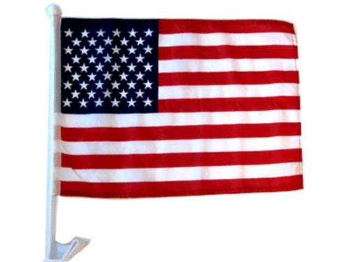 ALBATROS 12 in x 18 in (Pack of 12) USA American U.S.A. Car Vehicle Flag for Home and Parades, Official Party, All Weather Indoors Outdoors