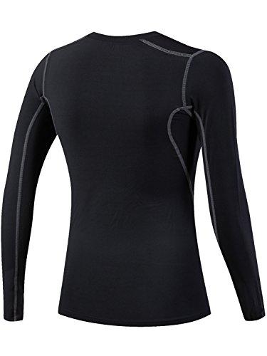 Lavento Women's Compression Shirt Sport Performance Crewneck Long sleeve T Shirt