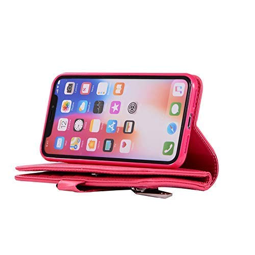 Jennyfly iPhone XR Phone Cover for Women,iPhone XR Wallet Cover with Card Slots,Luxury PU Leather Wallet Protective Case Cover with Hand Strap for 6.1 inch iPhone XR - Rose Pink