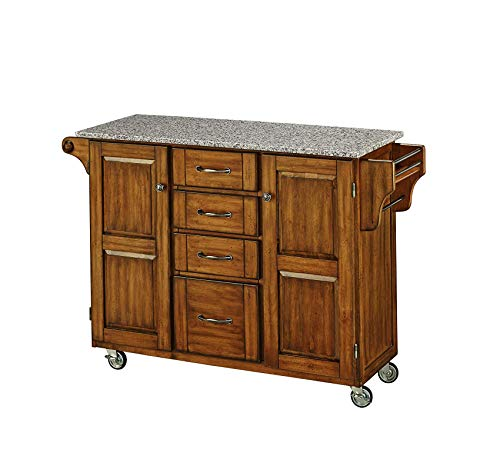 (Wood & Style Furniture Cuisine Cart with Salt and Pepper Granite Top, Warm Oak, 52-1/2-Inch Home Office Commerial Heavy Duty Strong Décor)