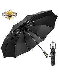 EMAGIE Paraguas Plegable Grande de Golf Sombrilla de Viaje Protección UV Paraguas para lluvia Anti-Viento Fácil de Tocar con Apertura y Cierre Automático Portátil Compacto Seca Rápido 46 Pulgadas Negro