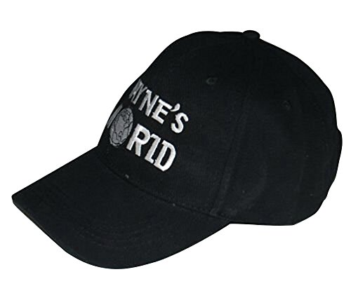 Waynes World Hat Wayne's Embroidered Baseball Cap Adjustable Black