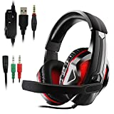 JAMSWALL LED Stereo Gaming Headset, 3.5mm Gaming Headse for PS4, PC, Xbox One Controller, Noise Cancelling Over Ear Headphones with Mic, LED Light, Bass Surround, Soft Memory Earmuffs