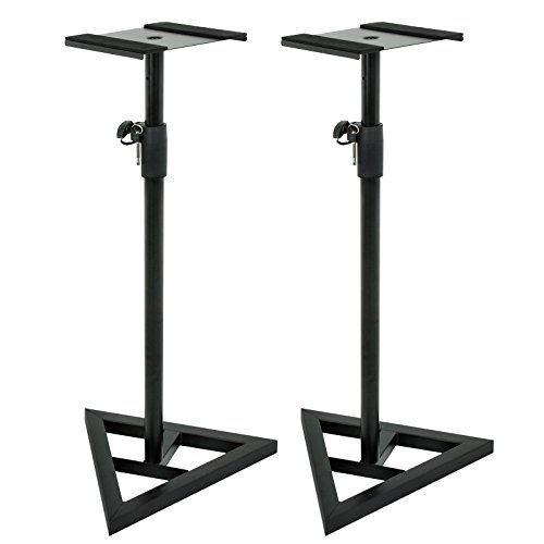 ZENY Pair of Studio Monitor Speaker Stands Height Adjustable Concert Band DJ Studio Floor Stands w/Stable Triangle Base, Black (Studio Monitor Stand)