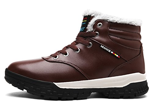 Santimon Sneakers Herren Leder Warm Gefütterte Winterstiefel Outdoor Schneestiefel Winterschuhe mit Kunstpelz Schwarz Braun Braun
