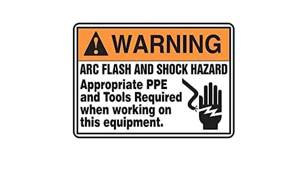 Accuform MELC361VP Safety Sign 10x14 PPE Required Plastic Arc Flash and Shock Hazard
