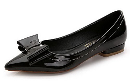Aalardom Dames Stevige Pull-on Punt-teen Lage Hakken Pumps-schoenen Zwart-bowknot
