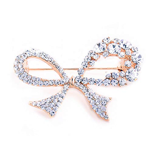 GYAYU Brooch Pins for Women,Gold Tone Austria Rhinestone Crystal Brooch Pins Jewelry (Bow)