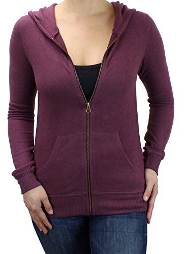 - Ms Lovely Women's Ultra Soft Zip-Up Hooded Sweatshirt Cute Comfy Fitted Lounge Hoodie - Burgundy X-Large