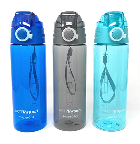 ActivSport Sports Water Bottle 3-Pack Multi-Pack 20oz Capacity, 3 Colors, Eastman Tritan, BPA-Free, Leak-Proof, Easy Locking & Push Button Flip Top, by Unity (20oz, Gray/Turquoise/Blue) ()