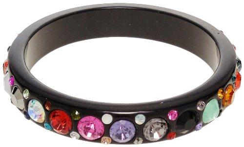 Bracelet - Black Acrylic Multi Colored Jeweled Bracelet - Kiki's Bejeweled - Multicolored Bracelet Rhinestone