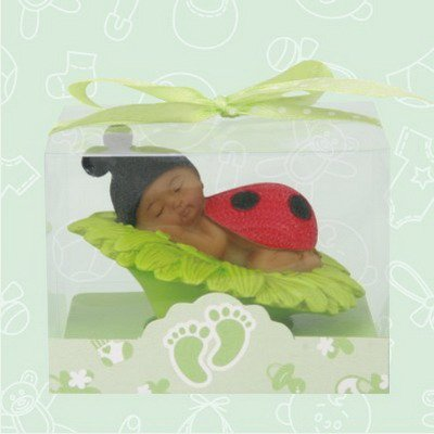 36 Ethnic African American Baby Shower Girl Ladybug on a Green Daisy Favors in Box Gift Keepsake Favor (Ladybug Baby Shower Favors)