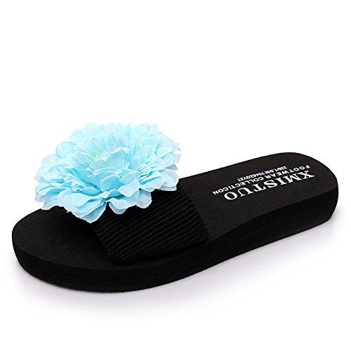 de Sandales Fashion Stretch Summer Pantoufles pour Tongs Blue Main Faites La Pantoufles Florales Décontractées Empeignes à Femmes Sandales Bohèmes Sandales Vacances CHENGXIAOXUAN Et xF01TqH