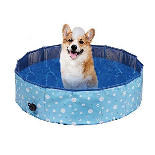 Delicacy Foldable Dog Pool, PVC Collapsible Dogs Pet Kiddie Bath Pool Swimming Pool,Bathing Tub for Dogs Cats and Kids-Blue