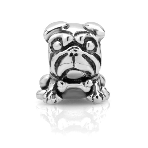 925 Sterling Silver Pug Dog Puppy Bead Charm (Pug Silver Sterling)