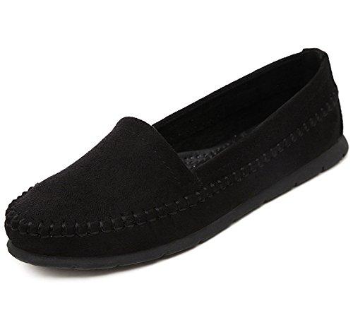 Aisun Donna Casual Comode Scarpe Slip On Flats Nere
