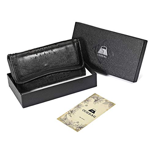 Ourbag Women Leather Hollow Out Long Wallet