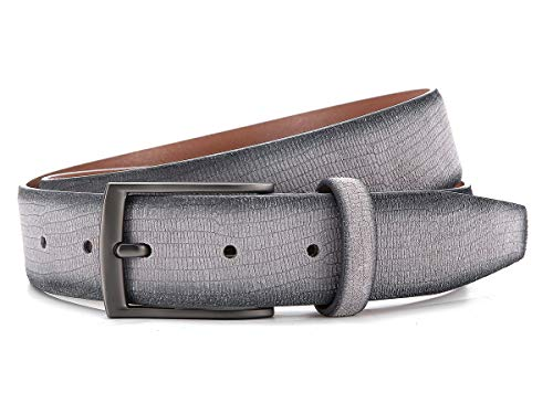 Ground Mind Embossed Lizard Pattern Suede Belts Casual Men's Belt (size 36(waist 34), Grey) - Lizard Embossed Casual Belt