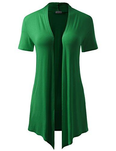 BIADANI Women Versatile Soft Short Sleeve Open Front Drape Cardigan Kelly Green XXX-Large
