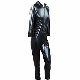 - 41BF0vsQm4L - FEESHOW Men's Wet Look PVC Leather Like Zipper Catsuit Jumpsuit Costumes