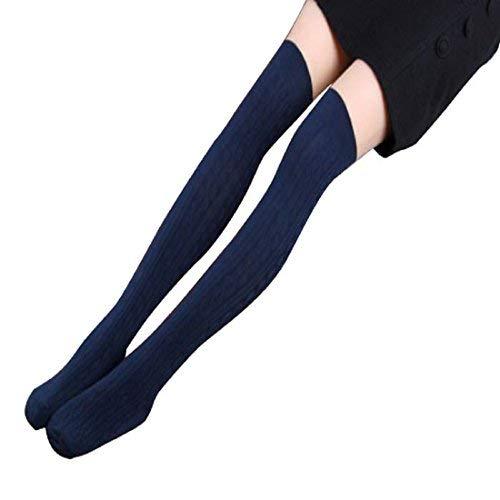 Coromose Women Knit Over Knee Thigh Stockings Spiral Pattern High Socks (Black 1)