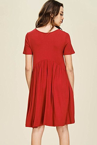 Red Scoop Front Comfy Women's Mini Pockets Pleated Sleeve Annabelle Neck with Dresses Empire Short Waist wxq4ZEY6