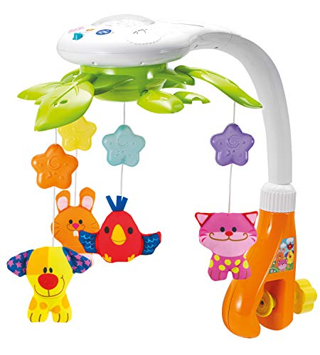 KiddoLab Baby Crib Mobile with Lights and Relaxing Music. Includes Ceiling Light Projector with Stars, Animals. Musical Crib Mobile with Timer. Nursery Toys for Babies Ages 0 to 9 Months