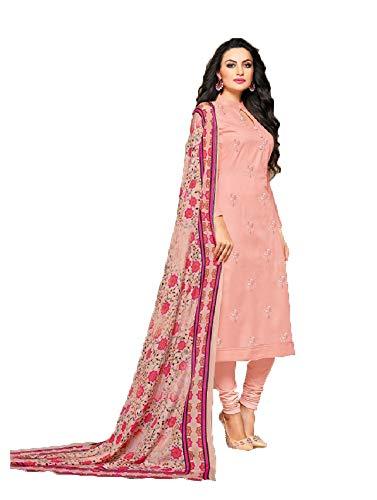 SB Fashion Readymade Light Pink Chanderi Churidar Salwar Kameez (Light Pink, Customized Stitch)