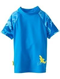 Baby Banz Boys 2-7 Short Sleeve Rash Top, Fin Frenzy Blue, 6 Years