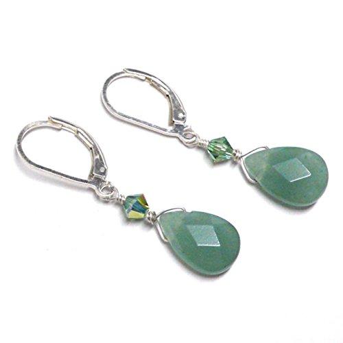 Green Aventurine Briolette Lever Back Earrings Swarovski Crystal Sterling Silver (Green Aventurine Briolette Earrings)