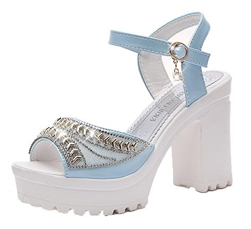 Blue Solid Toe Blend Women's Materials Heels CCALO012454 Sandals Peep VogueZone009 Buckle High x7PZ86qqnw