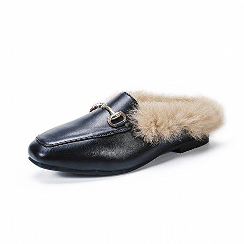 ZH Maomao Zapatos de Mujer Otoño E Invierno Zapatos Laterales Europeos Y Americanos, Además de Zapatos Planos de Terciopelo con un Solo Zapatos Planos Marea de Zapatos de Guisantes Do