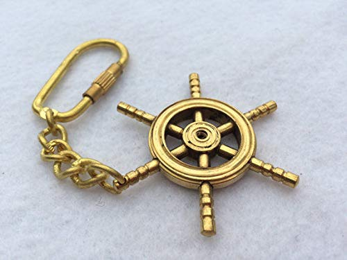 Rustic & Primitive Crafting Supplies (B) Manufactured to Look Antique Brass Ship Wheel Keychain - Necklace Pendant Charm - Nautical Captain Pirate Inspiration for A -