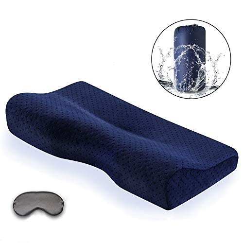 Portable Memory Foam Soft Travel Pillow Small Cervical Contour Bed Pillows for Neck Pain with Removable Washable Velvet Pillow Case,for Hotel,Business,Camping,Hiking,Backpacking,Navy Blue