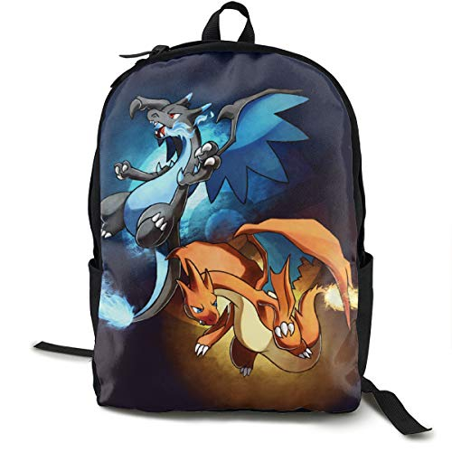 ShowRoom16 Custom Personalized Japanese Anime Cartoon Mega Charizard Backpack Insulated Lunch Bag Pen Bag for Boys Girls(Backpack Only)