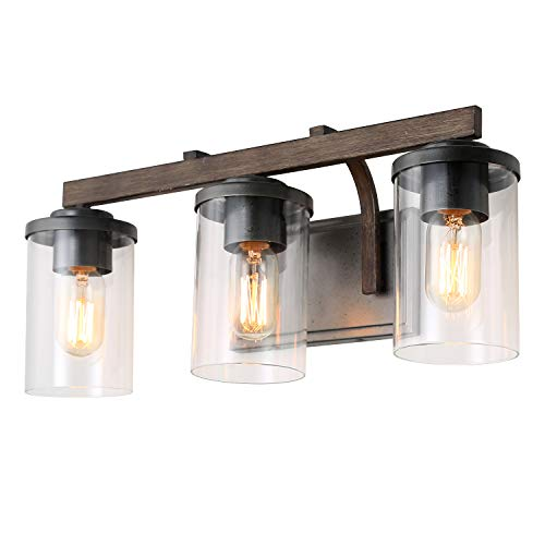 - LALUZ 3-Light Rustic Bath Vanity Light Fixture Wall Sconces with Clear Glass Shade, Faux Wood