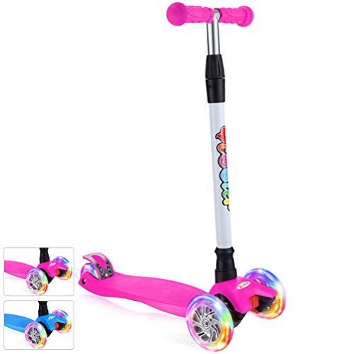 BELEEV Kick Scooter for Kids 3 Wheel Scooter, 4 Adjustable Height, Lean to Steer with PU LED Light Up Wheels for Children from 3 to 14 Years Old (Pink) -