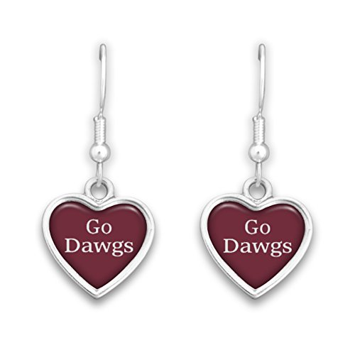 Sterling Silver Msu Bulldogs Charm (Mississippi State Bulldogs Heart Slogan Earrings)
