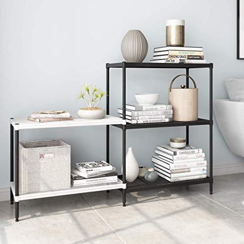 Rackaphile 3 2 Tier Bookshelf Adjustable Shelving Metal Storage Display Shelf Bookcase Utility Kitchen Storage Rack Organizer for Under Staircase, Bathroom, Pantry, Black and White