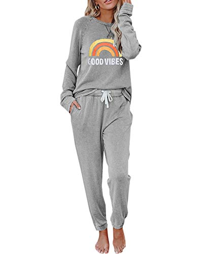 Eurivicy Women's Good Vibes Graphic 2 Piece Outfits Sets Long Sleeve Pullover Drawstring Sweatpants Sweatsuit Set