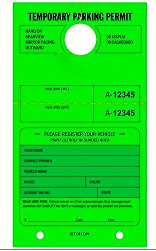 Permit Tags (TEMPORARY PARKING PERMIT - Mirror Hang Tag numbered and with Tear-off Stub. Fluorescent Green, 50/Pack)