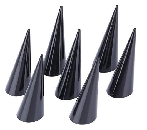 Pack of 10 Jewelry Ring Display Holder Stand Cone Shape Acrylic (Black) ()