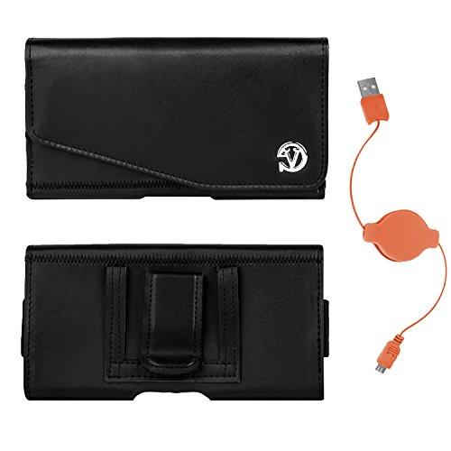 Vangoddy Noble Slim PU Leather Belt Clip Holster for Samsung Z, Ativ SE, Galaxy A5, A7, E5, E7, K Zoom and USB Charge and Sync Cable (Orange) (Samsung Ativ Se Orange Case)