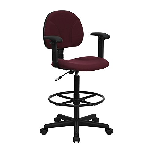 Drafting Stools 27 (Flash Furniture Burgundy Fabric Multi-Functional Ergonomic Drafting Stool with Arms (Adjustable Range 26''-30.5''H or 22.5''-27''H) Computer, Electronics)