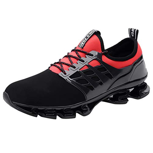 JJLIKER Mens Teen Fashion Sneakers Mesh Athletic Blade Outsole Breathable Comfort Running Rubber Shoes