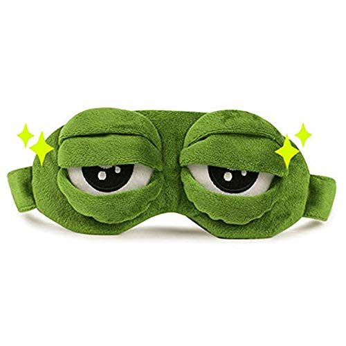 3D Cute Frog Sleep Eye Mask Green Cartoon Sad Frog Eye Mask Cover Sleeping Rest Travel Anime Funny Gift by PPX (NO ICE ()