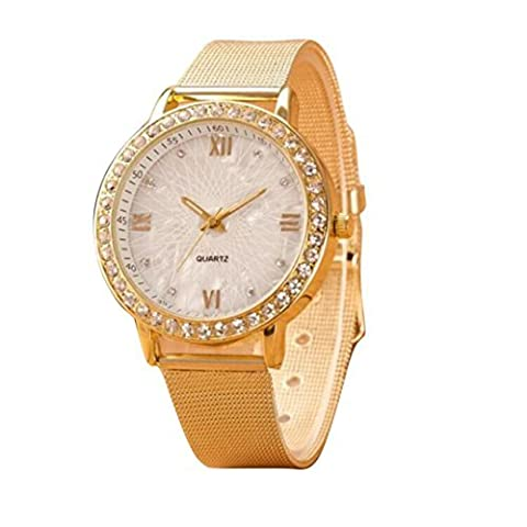 Hot Sale! Canserin Women Classy Crystal Roman Numerals Gold Mesh Band Wrist Watch (Classy Sports Watch)