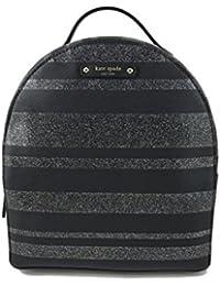 New York Haven Lane Sammi Backpack Purse in Glitter Stripe Black